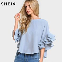 SHEIN Pleated Ruffle Sleeve Dolphin Hem Top Women Blouses Summer 2017 Round Neck Half Sleeve Casual High Low Blouse-in Blouses & Shirts from Women's Clothing & Accessories on Aliexpress.com | Alibaba Group