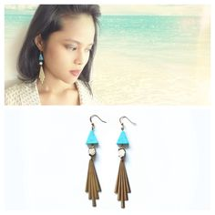 Comet Trail Raw Coral Turquoise Earrings