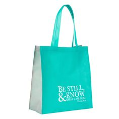 Go-everywhere, eco-friendly toteInspiring art and x x roomy sizeNon-woven material; durable & reusableAffordable alternative to plastic bagsBe still & know that I am God. Psalm Aqua turquoise blue Be Still and Know That I Am God Tote Christian Art Gifts, Christian Faith, Gift Of Faith, Scripture Verses, Inspirational Message, Gift Bags, Be Still, Psalms, Reusable Tote Bags