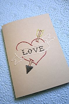 hand stitched love card