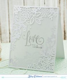 Bridal Challenge: Love For A Lifetime Card by Betsy Veldman for Papertrey Ink (August Wedding Shower Cards, Wedding Cards, Wedding Invitations, Wedding Wishes, Hand Made Greeting Cards, Making Greeting Cards, Scrapbooking, Engagement Cards, Love Cards