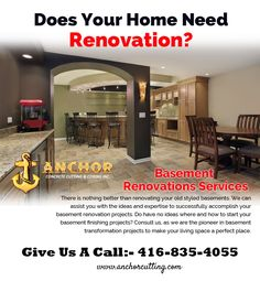 Contact AnchorCutting - well known name in basement renovation services in Brampton, Mississauga, Milton and Oakville. Basement Renovations, Anchor, Concrete, Canada, Anchors, Cement