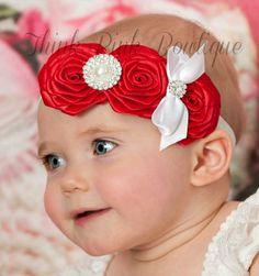 Baby Headbands, Baby headband,Red Headband,Valentines headband,Christmas Headbands, girls headbands,baby girl headbands, Flower Headband.