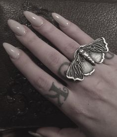 """Planchette moth ring coming soon to the shop. ❤️ #bloodmilk #darklingilisten"""