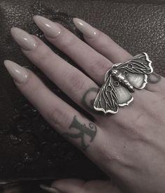 """Planchette moth ring coming soon to the shop. ❤️ #bloodmilk #darklingilisten"""