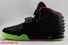 7fe0426150fa0 Best Replica Air Yeezy 2 Black Solar Red Glow In Dark Sale Super Version