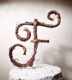 Rustic Twig Monogram Letter Wedding Cake Topper by TheOriginalTwig, $29.00