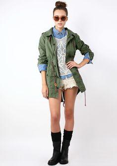 Armygreen Military Style Hooded Parka Coat