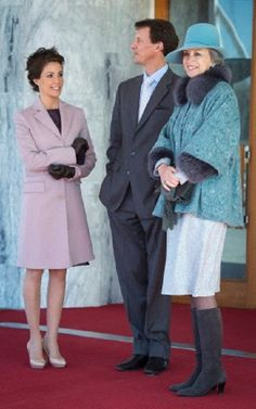 (L-R) Princess Marie, Prince Joachim and Princess Benedikte of Denmark to meets the Finnish President and his wife in Copenhagen Airport Kastrup on 4 April 2013