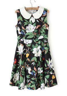 Multicolor Floral Above Knee Cotton Blend Mini Dress