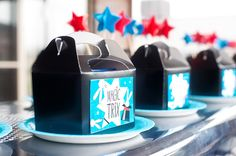 """3 is the Magic Number partyBy Studio CakeAs told by Studio Cake """"We celebrated my son's third birthday in May of this year and decided on a Magic theme with the colours dark teal, red black and white for a retro, fun feel Our 6th Birthday Parties, Third Birthday, Birthday Ideas, Magic Birthday, Magician Party, Magic Theme, Glitter Jars, Gable Boxes, Minion Party"""
