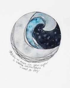 20 minute watercolor illustration by Kyra Hinton. #circles #waves #moon #stars #night