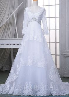 Custom Long Sleeve Lace Wedding Dress White Dresses Vintage V Neck Gowns A Line Bridal