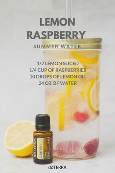 Stay hydrated this summer with this tasty lemon raspberry water! Not only does lemon essential oil add a refreshing taste but it also naturally cleanses the body and aids in digestion. Cooking With Essential Oils, Essential Oils For Add, Essential Oil Uses, Doterra Essential Oils, Helichrysum Essential Oil, Chamomile Essential Oil, Natural Cleanse, Lemon Oil, Avocado Smoothie