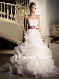 Novia Strapless Princesa Vestidos de Novia de Encaje