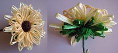 Written direction on post---Lifelike loomed flowers