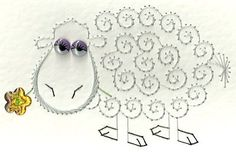 Stitching Cards customer Ivy Crowhurst has sent us a picture showing how she has stitched our sheep pattern from the Farm Animals value pack. Doily Patterns, Card Patterns, Stitch Patterns, Dress Patterns, Embroidery Cards, Beaded Embroidery, Sheep Art, Sewing Cards, Quilling Paper Craft