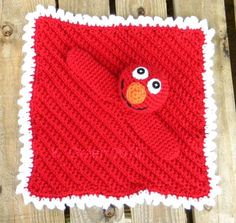 """Little Red Monster Cuddle Blankie Pattern Inspired by Sesame Street's Elmo Character Our daughter is a blanket baby and has to have her """"bits"""" when she goes wants to … Crochet Security Blanket, Crochet Lovey, Lovey Blanket, Manta Crochet, Baby Blanket Crochet, Free Crochet, Crochet Blankets, Bunny Blanket, Baby Afghans"""