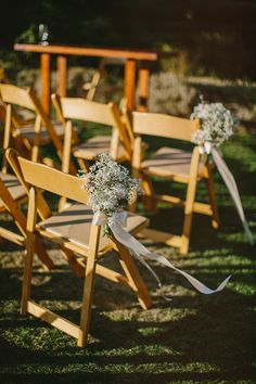 Beautiful and simple chair decor at Calistoga Ranch, CA wedding, photo by Perspective Eye Photographer | junebugweddings.com