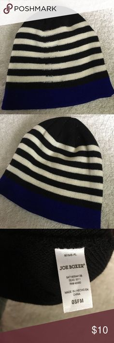 NWOT Joe Boxer Black Striped Beanie 🎉10% Off All Bundles!🎉 🎈BOGO 50% Off All Items in Closet!🎈 NWOT never worn Joe Boxer beanie/knit hat. Black and white stripes with royal blue border. Light but warn. Perfect condition. See coordinating scarf and gloves! Joe Boxer Accessories Hats