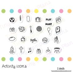 Planner icon stamps. Denote parties, hobbies, sports, travel and more. These stamps were designed to fit the small spaces in a planner and