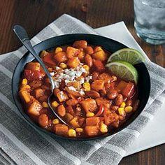Pinto Bean Chili with Corn and Winter Squash | MyRecipes.com