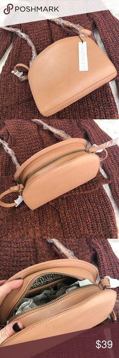 Sole Society Cross-Body Vegan Leather Purse Light tan, vegan leather purse. Brand new, never used. Tags and original packaging. Cute leopard print lining. Adjustable strap. Sole Society Bags Crossbody Bags