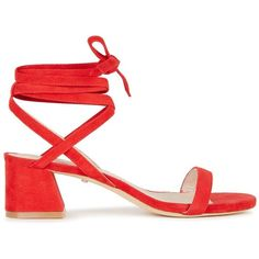 Raye Candy Red Suede Sandals - Size 7.5 ($235) ❤ liked on Polyvore featuring shoes, sandals, tie sandals, mid-heel sandals, open toe sandals, red block heel shoes and mid-heel shoes