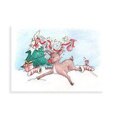 Kerstkaart met illustratie van Illu-Straver, rendier met kerstsokken uitgegleden in de sneeuw.