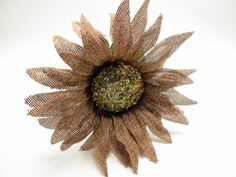 Rustic Burlap Sunflower - Cottage Chic Bridesmaid - Autumn/Fall Wedding photo prop - Glitter - Daisy flower child - Festival
