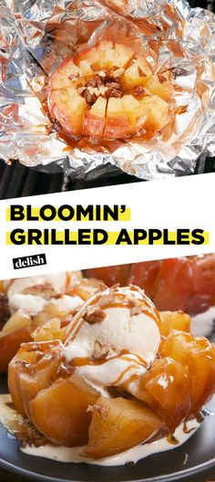 Bloomin' Grilled Apples are so good, you'll forget they're healthy. Get the recipe at Delish.com. #recipe #easy #easyrecipe #apples #fruit #icecream #caramel #grilling #dessert #dessertrecipes #desserttable #grill #apple