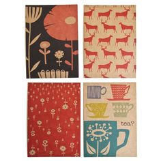 SkinnyLamin - 4 postcards - Wild Flowers, Reindeer Herds, Flower Shower, Tea.