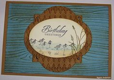 Stamp' Up! ... hand crafted card from Lynn's cards ... luv the combo of embossing folder textures with soft sponged antiquing brown ... Wetlands birds on a layered label compo  ...