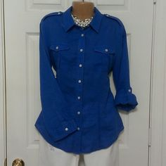 ***FLASH SALE***  Chico's linen long sleeve shirt ***Final Mark Down*** This beautiful blue chicos shirt is in great condition and is 55% linen and 45% cotton. Where is a small hole that was snagged in it with a purse strap buckle near the shoulder. (See photo) Chicos Tops Button Down Shirts