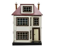 A G & J Lines Wooden Dolls' House No 70, painted cream with large two-storey bay window to left, tinplate front door to right, tinplate windows, dormer window, front opening to reveal two rooms with fireplace, hall, stairs and landing, 1915-22 --27in. (68.5cm.) high (F, completely refurbished)