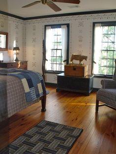 Prim decor with blue trim and stenciling Primitive Country Homes, Primitive Bedroom, Prim Decor, Country Decor, Primitive Decor, Primitive Antiques, Primitive Furniture, Wabi Sabi, Colonial Bedroom