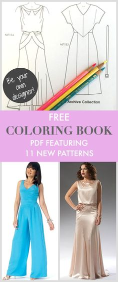 Free Coloring Book PDF From McCalls Featuring 11 New Patterns To Play Fashion Designer With