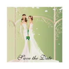 Two Brides Lesbian Floral Archway Save the Date I Personalized Invite