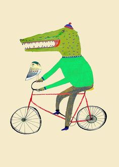 Croc and Owl on Bike. Limited edition art print by Ashley Percival. Illustration, Print, Drawing.