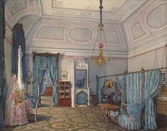 Interiors of the Winter Palace. The Fifth Reserved Apartment. The Bedroom of Grand Princess Maria Alexandrovna by Edward Petrovich Hau - Architecture, Interiors Drawings from Hermitage Museum