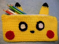 Pikachu Inspired Crochet Pencil Case / Pouch by CrochetFromKatie Read Books, Bookends, Coin Purse, Coins, Coining, Coin Purses