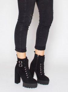 5426370e19788 Lois Black Suede Lace Up Platform Ankle Boots | Simmi shoes | Simmi ...