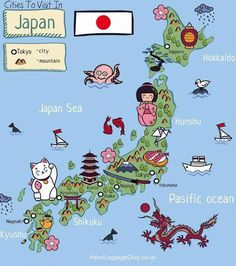 Cities To Visit In Japan. Via Hand Luggage Only Japan is a country that's so incredible to explore! From the stunning hiking trails, islands like Kyushu and the best cities in Japan to visit, there's a little slice of the country that I'm sure Go To Japan, Visit Japan, Japan Trip, Okinawa Japan, Kyushu, Travel Maps, Asia Travel, Travel Luggage, Japon Tokyo