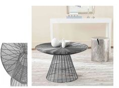 Gray Circular Frame Table Wire Furniture Coffee Table Living Room Home Decor #Modern
