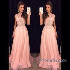 Prom dress 2016, pink lace chiffon long prom dress
