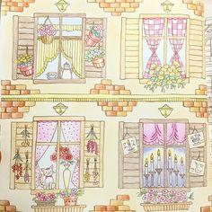 Instagram media ku._.chan - #塗り絵 #大人の塗り絵 #コロリアージュ #ロマンティックカントリー クリーム色のアパルトマン。 花屋のマノンの住むおうちはガーリーにしました 右下のおうちはいったいどんな人が住んでいるんだろ⁇