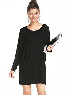 Sheinside® Women's Black Round Neck Long Sleeve Loose Dress (S, Black) Sheinside http://www.amazon.com/dp/B00M7SO93C/ref=cm_sw_r_pi_dp_1c0Jub1GNMT4S