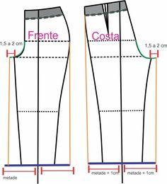Molde Calça Pantalona ou Pantacourt, tutorial de Modelagem fácil com Passo a Passo em figuras e vídeo, que tal fazer também um macacão?