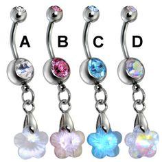 Surgical Steel Flower Prism Belly Ring.  #piercing #piercingjewelry #jewelry #bodypiercing #bodyjewelry ♥ $0.99 via OnlinePiercingShop.com