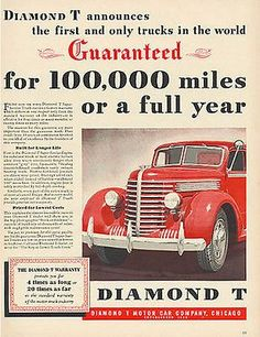 Truck Diamond T Red Chrome Truck Motor Car Company Chicago 1939 Ad